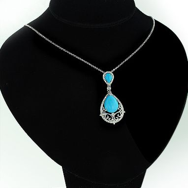 Custom Made Turquoise Gem Teardrop Pendant