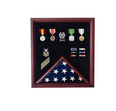Custom Made Retirement Flag And Badge Display Case