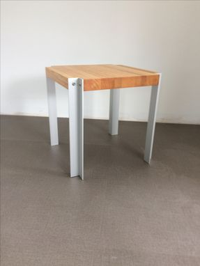 Custom Made Oak Edge Grain With Corner Notch And Anodized Aluminum Legs,