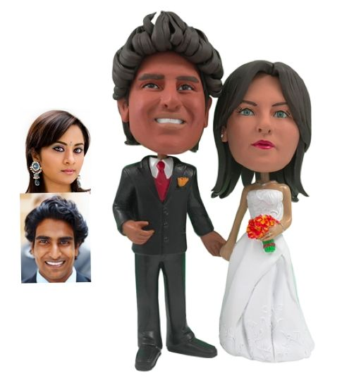 Custom Made Personalized Wedding Cake Topper Of A Beautiful Couple Holding Hands