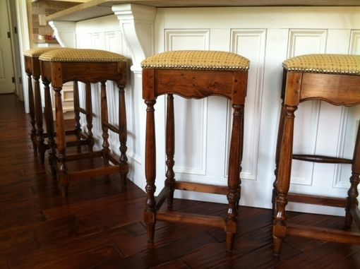 Custom Made Antique Heart Pine Kitchen Stools