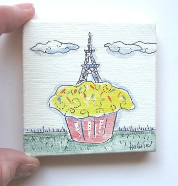 Custom Made Eiffel Tower On A Cupcake Original Acrylic Painting Pen And Ink On Canvas