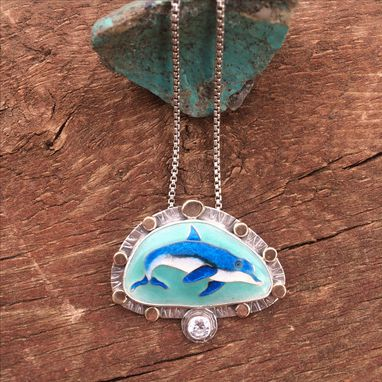 Custom Made Cloisonne Enamel Dolphin Necklace