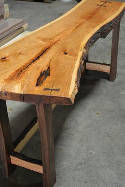 Custom Made Live Edge Desk - Cherry Top And Walnut Base