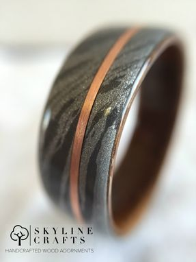 Custom Made White Mokume Gane Ring With Rosewood Bentwood Interior And Offset Copper Inlay