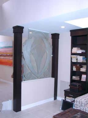 Custom Made Carved Out To Shape Art Deco Knee Wall  Heavy Glass Partition