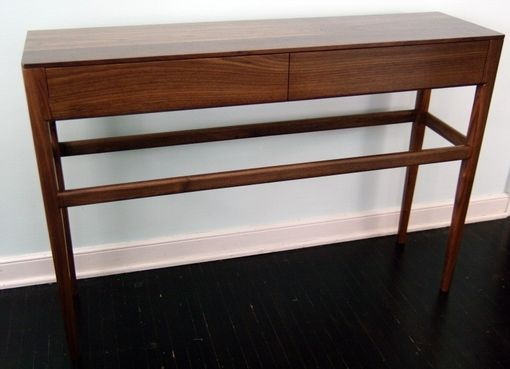 Custom Made Danish Mid Century Modern Style Console Table With Drawers, Solid Wood Walnut