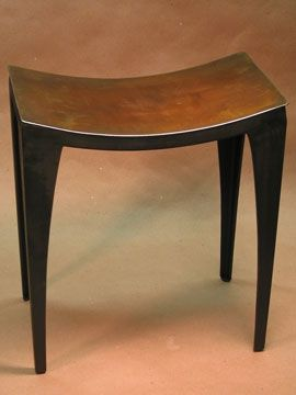 Custom Made Modern Metal Dining Stool (Part Of A Set). Deep Brown Patina.