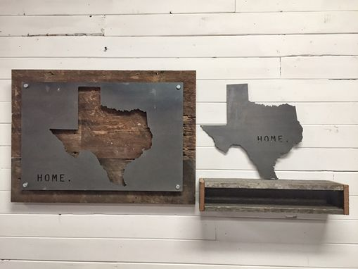 Custom Made Texas Home State Steel On Reclaimed Wood Wall Decor