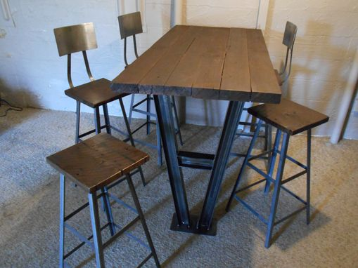 Custom Made Industrial Trestle Wall Mounted Bar Table