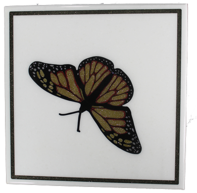 Custom Made Square Solid Surface Side Table With Butterfly Inlay