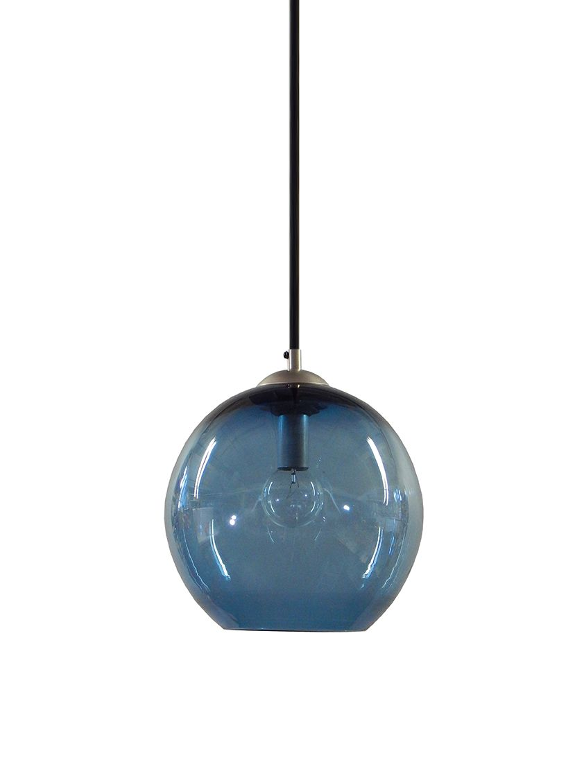 Buy a Custom Steel Blue Gumball Hand Blown Glass Pendant Lighting