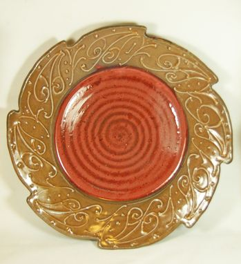 Custom Made Red And Tan Serving Plate With Flowing Leaf Desing