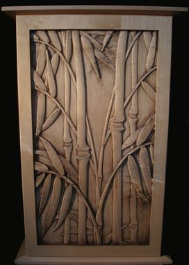 Custom Made Carved Maple Bamboo Cabinet