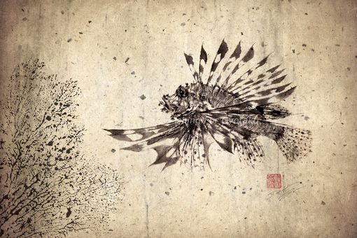Custom Made Lionfish (Hanami No Kasago) Gyotaku Print - Traditional Japanese Fish Art