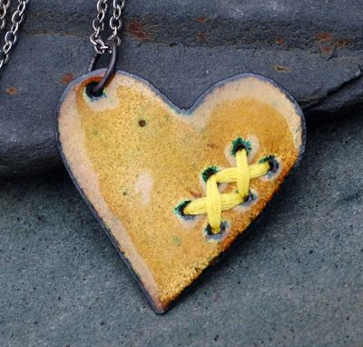 Custom Made Mended Enamel Heart Pendant Necklace Copper Enameled Jewelry Sewn Chartreuse