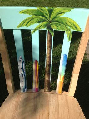 Custom Made Hand Painted Girl's Surfboard Themed Accent Chair