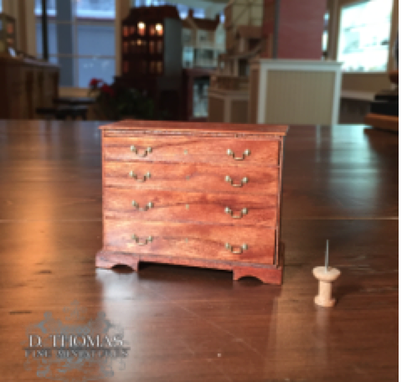 Custom Made 1/12 Scale Cherrywood Bachelor's Chest