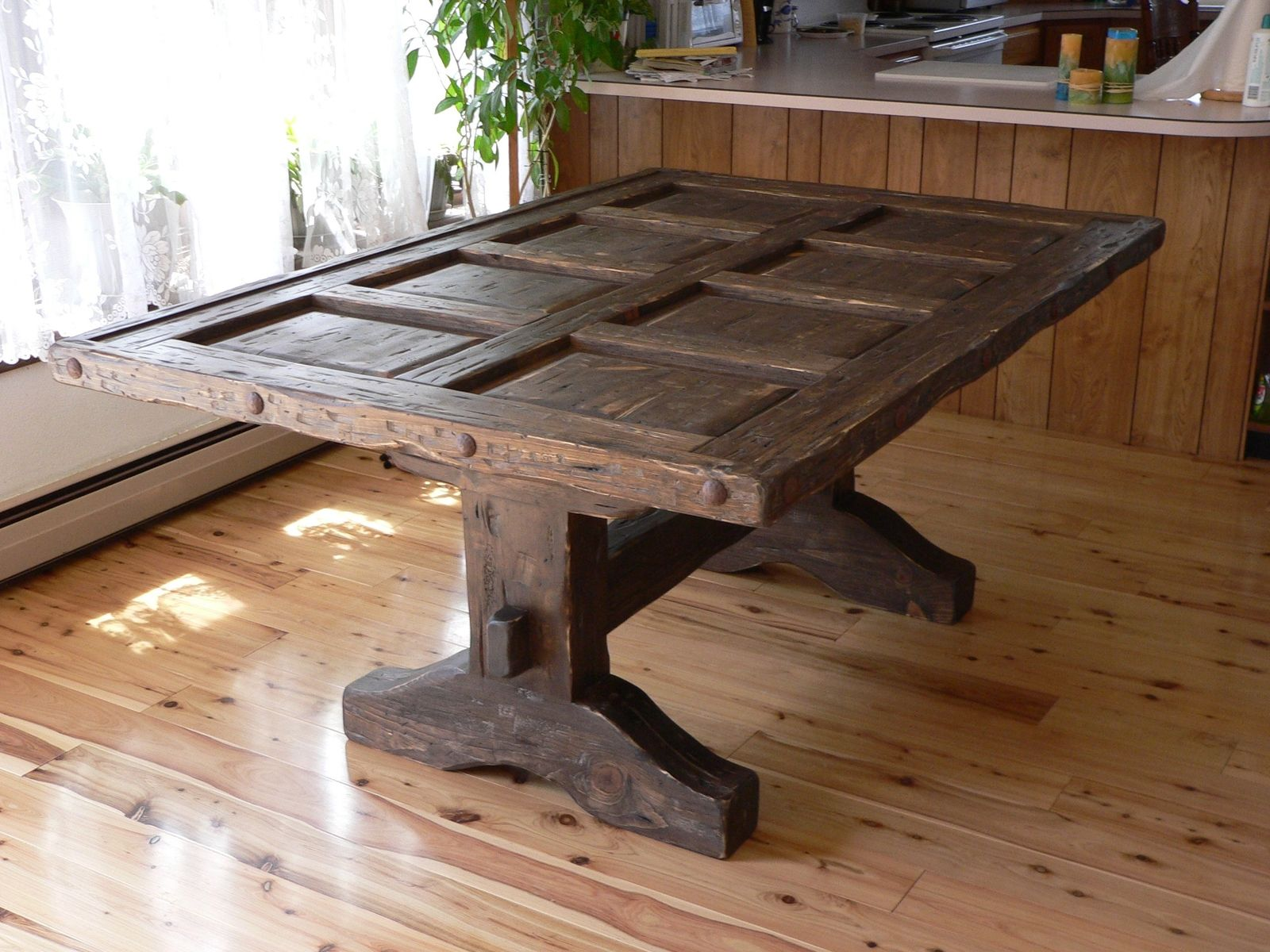 Custom Made Southwest Distressed Dining Room Table With Gl Top