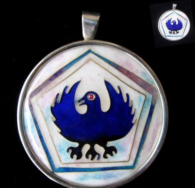 Custom Made Three-Legged Crow Silver Cloisonne Pendant
