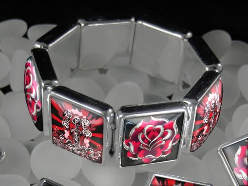 Custom Made Day Of The Dead Guadalupe & Roses Bracelet Ssbb-26