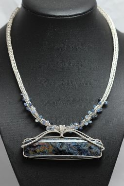 Custom Made Swirling Blue Pietersite Sapphire And Sterling Silver Necklace