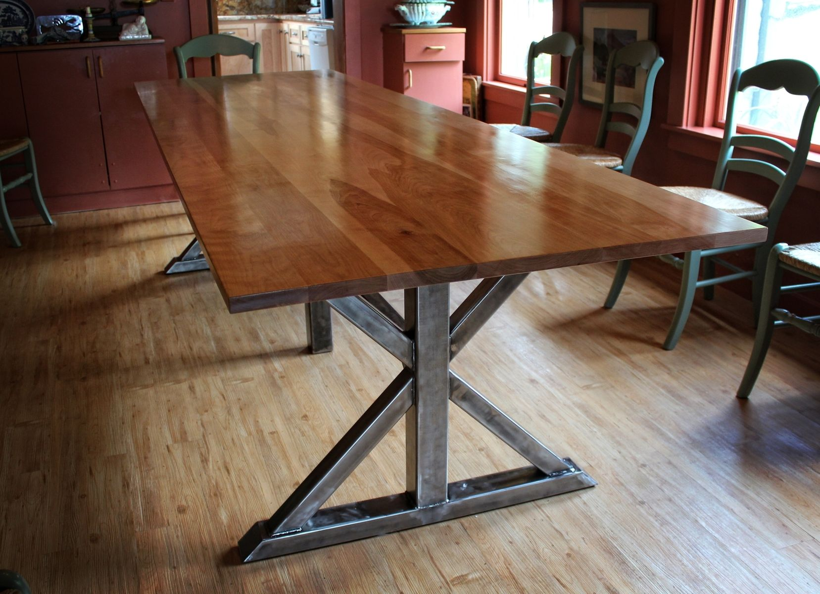 handmade birch and steel trestle dining table by higgins fabrication. Black Bedroom Furniture Sets. Home Design Ideas