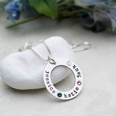 Custom Made Mothers Necklace With Childrens Names And Birthstone Crystals