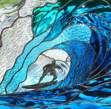 Custom Made Stained Glass Wave/Surfer