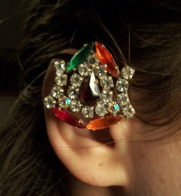 "Custom Made Black Rhinestone Ear Cuff ""Zena''"