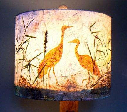 Custom Made Cranes In The Reeds Lamp Shade, Artisan Papers And Pressed Plants