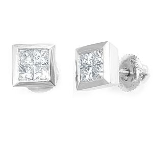 Custom Made Illusion Princess Cut Diamond Stud Earrings