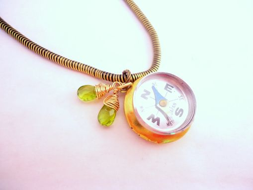 Custom Made Working Compass And Peridot Necklace