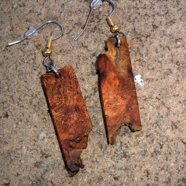 Custom Made Wood Earrings Of Mesquite Burl With Natural Edge, Very Lightweight..L040
