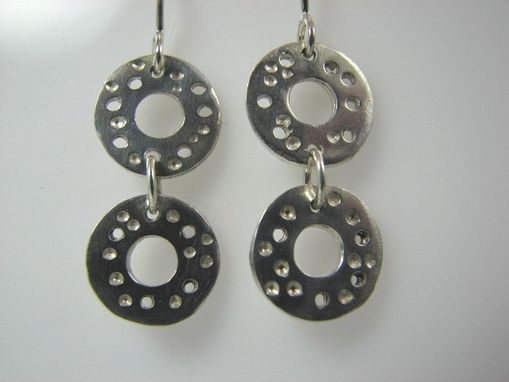 Custom Made Double Circle Earrings With Drilled Holes In Sterling Silver From The Luna Collection
