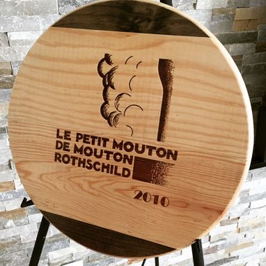 Custom Made Artisan Lazy Susan Wine Panel Le Petit D Mouton Rot. Handcraft 17' W/B Handmade