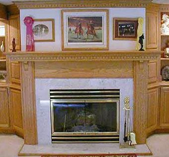 Custom Made Oak And Marble Fireplace Surround