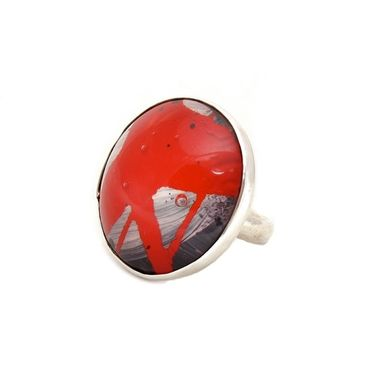 Custom Made Steampunk Ring - Red Grey Ring - Sterling Ring - Bold  Resin Ring - Size 7