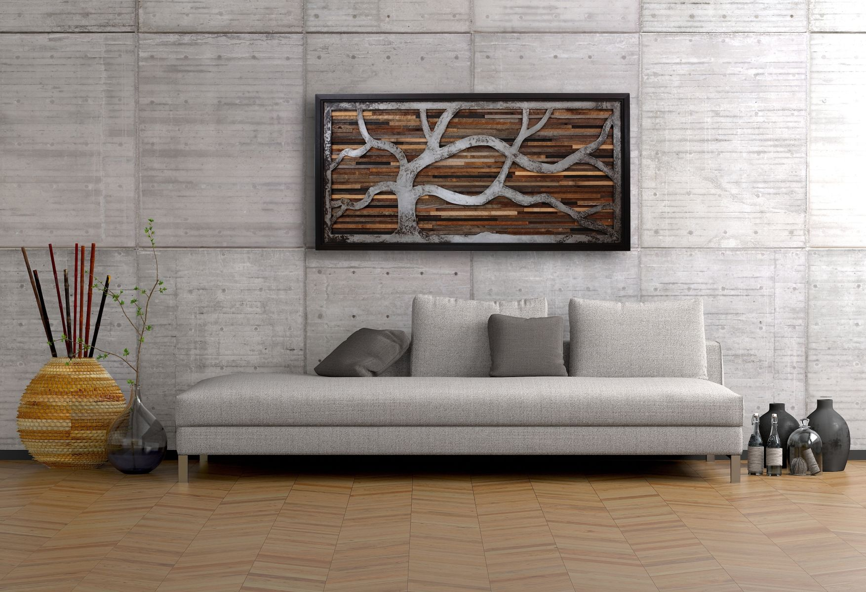 Reclaimed Wood Wall Art Made Of Old Barnwood And Rustic Steel 48
