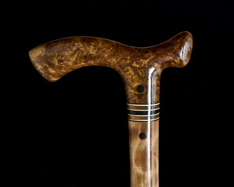 Custom Made Handmade Walking Cane In Almond Burl And Figured Birch Wood - Walking Stick, Gift Idea, Wood Art
