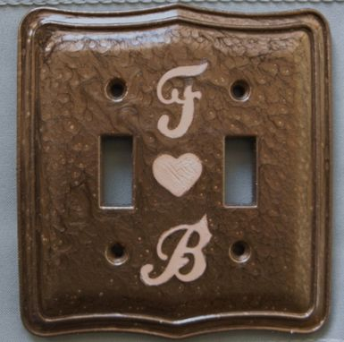 Custom Made Victorian Wall Switch Plate ,Customed By Initial ,Hand Carve On Ceramic,Handmade ,
