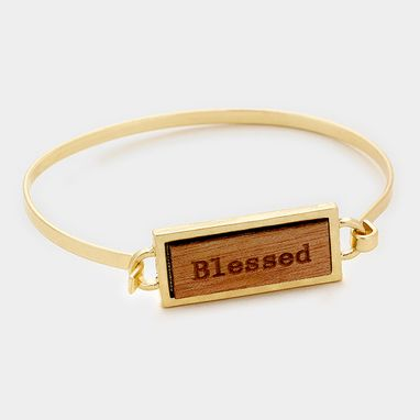 Custom Made Inspirational Bar Bracelet Gold Blessed
