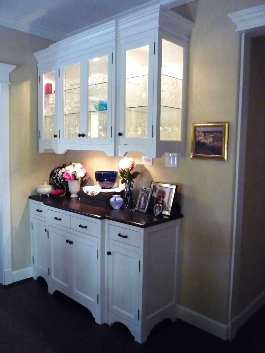 Hand Crafted Two Piece China Cabinet In White Lacquer With Stained Top By Custom Cabinets Amp Trim