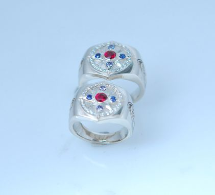 Custom Made 14kt White Gold Ruby,Sapphire,Diamond Matching Wedding Rings