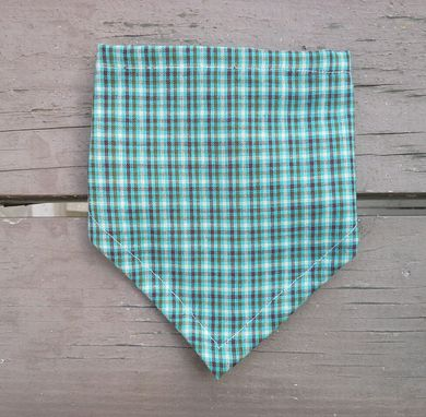 Custom Made Green Plaid Bibdana, Reversible Cotton Bandana Bib For Baby