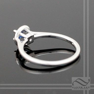 Custom Made Sapphire Halo Ring 14k White Gold