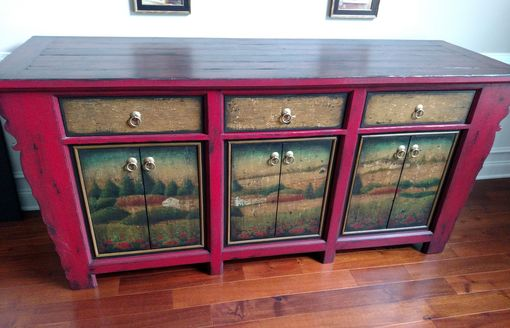 Custom Made Chinese Inspired Sideboard Buffet Cabinet Dining Room Storage
