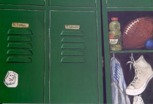 Custom Made Closet Doors Painted Trompe L'Oeil Style To Be A Sports Locker.