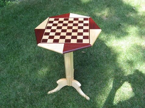 Custom Made Maple And Padauk Folding Chess Table