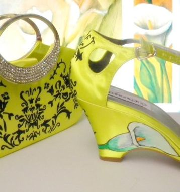 Custom Made Lime Green Damask Set Of Shoes And Purse